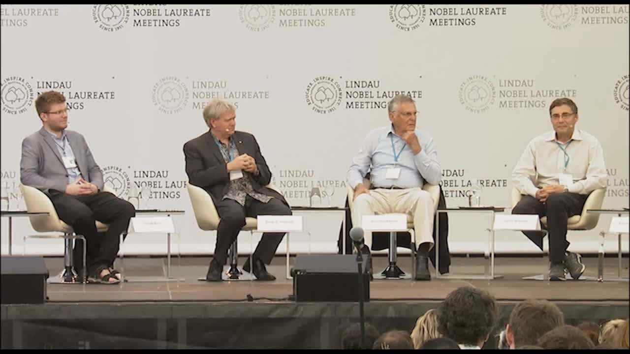 Closing Panel Discussion (2016) - The Future of Education in Sciences; Panelists Brian Schmidt, Dan Shechtman, Tamás Vámi, Carl Wieman; Moderator Karan Khemka