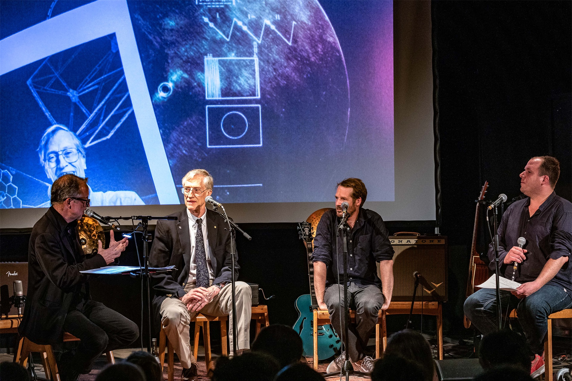 Voyager III – A Musical Journey Through Interstellar Space  (2019) - Nobel Laureate John C. Mather and singer-songwriter Gisbert zu Knyphausen, as well as musicians Hank Shizzoe, Michael Flury and director Verena Regensburger, take part in a thought experiment on which items of science and art should be included in the next golden record. This event has been a cooperation between Lindau Nobel Laureate Meetings and Zeughaus Lindau e. V.