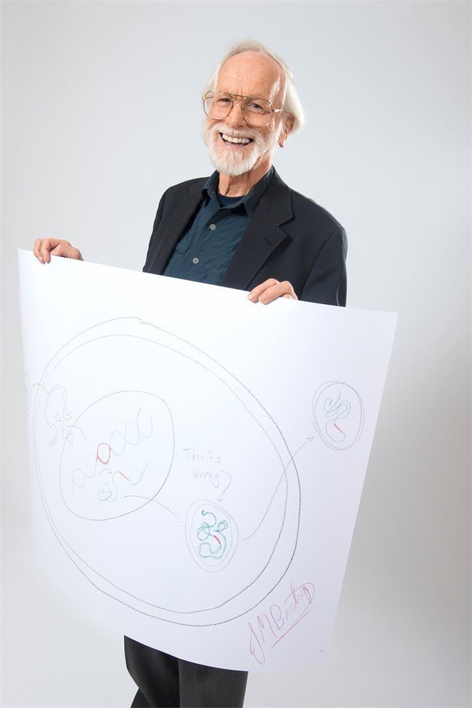 "J. Michael Bishop with his ""Sketch of Science"""