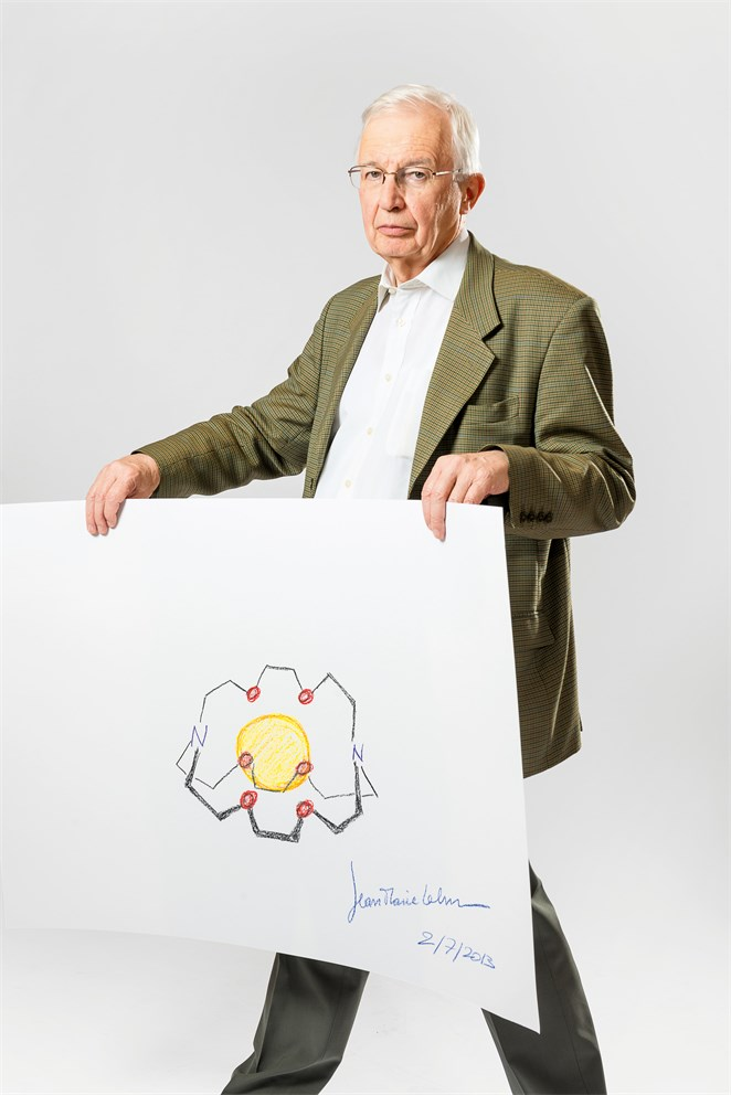 "Jean-Marie Lehn with his ""Sketch of Science"""