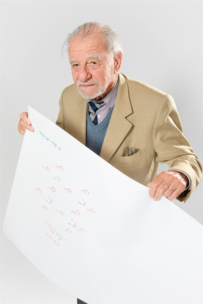 "Karl Müller with his ""Sketch of Science"""
