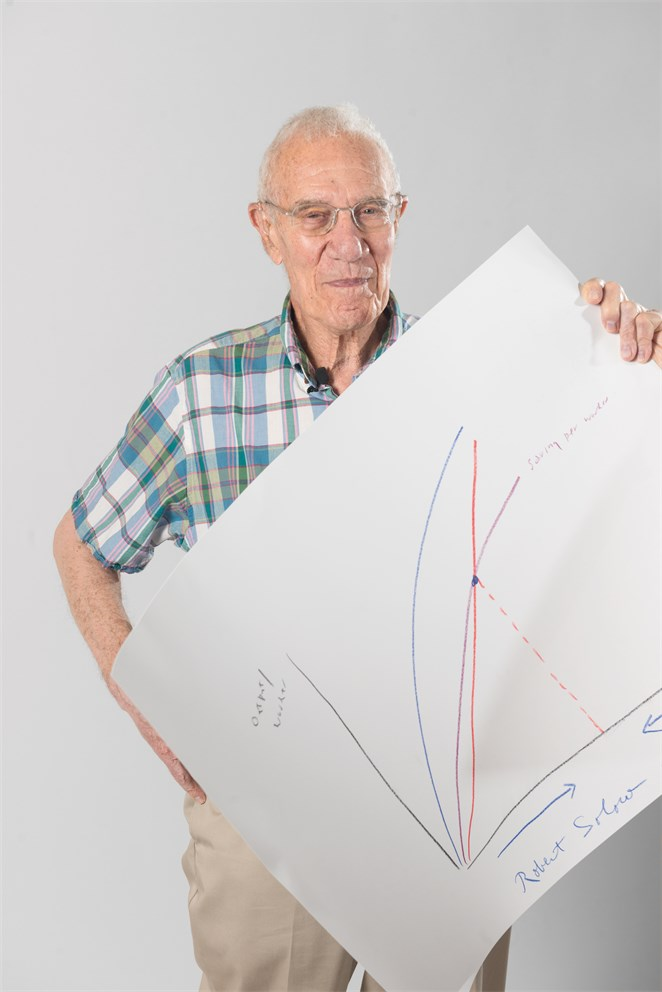 "Robert Solow with his ""Sketch of Science"""