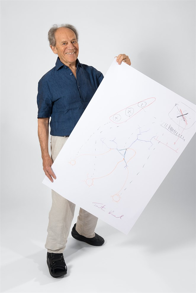 "Torsten Wiesel with his ""Sketch of Science"""