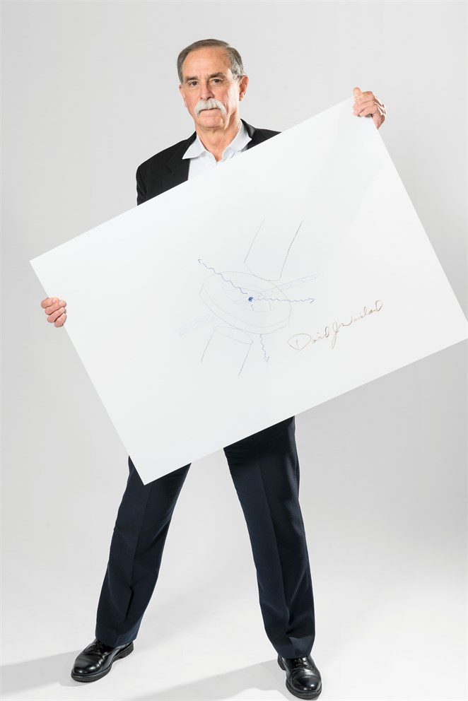 "David Wineland with his ""Sketch of Science"""