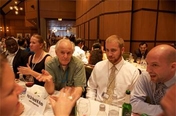 Sir Harold Kroto - Sir Harold Kroto (Laureate, Chemistry 1996) exchanging ideas with young researchers