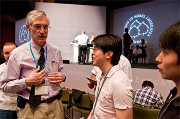 John Mather - Laureate John Mather (Physics, 2006) in discussion with young researchers
