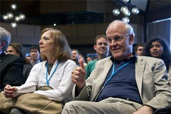 David Gross - Laureate David Gross attending the live television broadcast from CERN