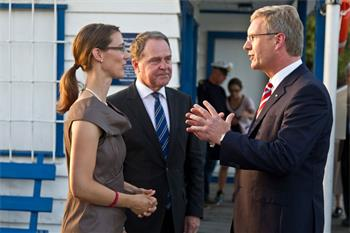4th Lindau Meeting on Economic Sciences, 2011 - Countess Bettina Bernadotte with Christian Wulff (President of the Federal Republic of Germany) and Dr. Wolfgang Heubisch (Bavarian Minister of State)