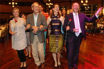 62nd Lindau Nobel Laureate Meeting, 2012 - Countess Bettina Bernadotte leads the festive polonaise at the Singaporean evening