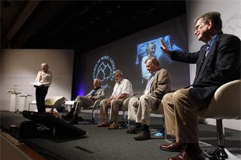 62nd Lindau Nobel Laureate Meeting, 2012 - CERN panel discussion with Laureates David Gross, Martinus Veltman, Carlo Rubbia, and George Smoot (from left)