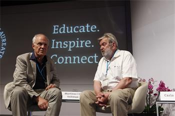 62nd Lindau Nobel Laureate Meeting, 2012 - Laureates David Gross and Martinus Veltman discussing research results at the CERN panel discussion