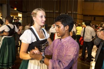 63rd Lindau Nobel Laureate Meeting, 2013 - Young researchers in traditional attire of their home country at the Bavarian Evening.