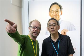 63rd Lindau Nobel Laureate Meeting, 2013 - Steven Chu together with Volker Steger at the exhibition 'Sketches of Science'.