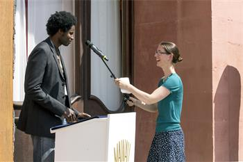 63rd Lindau Nobel Laureate Meeting, 2013 - Young researcher Emalick Njie about to deliver his closing farewell address.