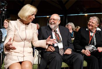 63rd Lindau Nobel Laureate Meeting, 2013 - Federal Minister of Education and Research Johanna Wanka,Klaus Tschira and his wife at the Opening Ceremony.