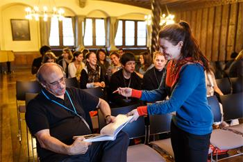 63rd Lindau Nobel Laureate Meeting, 2013 - Martin Chalfie signing a book for a young researcher.