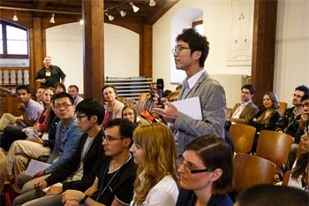63rd Lindau Nobel Laureate Meeting, 2013 - Young researchers attending a discussion session.