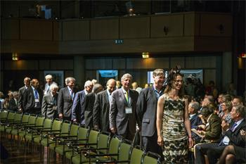 Opening Ceremony, 2014 - Laureates marching in during the opening ceremony of the 64th Meeting.