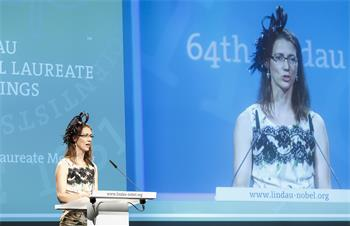 Opening Ceremony, 2014 - Countess Bettina Bernadotte holding her welcome speech during the opening ceremony at the 64th Meeting.