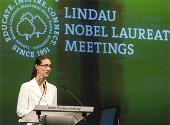 Countess Bettina Bernadotte - Countess Bettina Bernadotte welcoming the guests at the 5th Lindau Nobel Laureate Meeting on Economic Sciences.