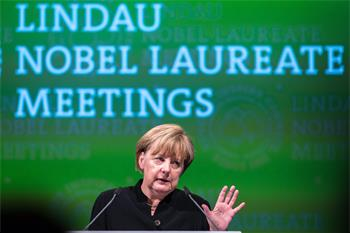 Chancellor Angela Merkel  - Chancellor Angela Merkel holding her keynote address at the 5th Liunau Nobel Laureate Meeting.