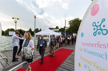 65th Lindau Nobel Laureate Meeting - Walter Gilbert entering the boat to visit the Summer Festival of Science.