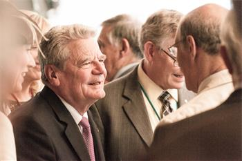 65th Lindau Nobel Laureate Meeting -  Federal President Joachim Gauck being welcomed by Laureates at the 65th Lindau Nobel Laureate Meeting.