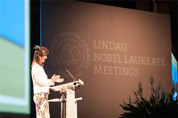 65th Lindau Nobel Laureate Meeting - Countess Bettina Bernadotte delivering her welcome speech at the opening ceremony of the 65th Meeting.