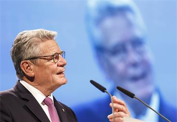 65th Lindau Nobel Laureate Meeting - Federal President Joachim Gauck giving his welcome address at the opening ceremony.