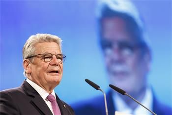 65th Lindau Nobel Laureate Meeting - Federal President Joachim Gauck holding his welcome address at the opening ceremony.