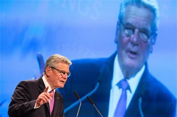 65th Lindau Nobel Laureate Meeting - Federal President Joachim Gauck delivering his welcome address at the 65th opening ceremony.