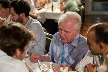 Harald zur Hausen - Harald zur Hausen conversing with young scientists at the International Get-Together.