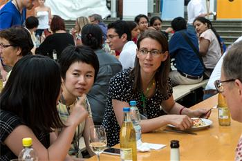 65th Lindau Nobel Laureate Meeting - Countess Bettina Bernadotte together with young scientists at the social event Grill & Chill.