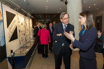 Sketches of Science - Countess Bettina Bernadotte and Staffan Carlsson, Ambassador of Sweden to Germany, at the opening of the Sketches of Science exhibition in Berlin 2013.
