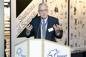 Sketches of Science - Peter Schmitz, chief operations officer of Fraport AG, at the opening of the Sketches of Science exhibition at Frankfurt Airport.