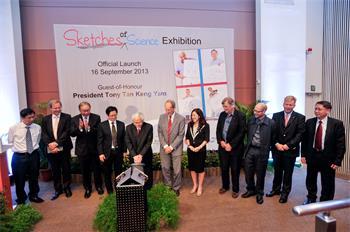 Sketches of Science  - President Tony Tan Keng Yam lauching the Skteches of Science exhibition in Singapore 2013.