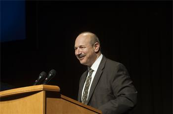 Sketches of Science - Nobel Laureate Bruce Beutler holding his welcoming address at the Sketches of Science exhibition, University of California, Davis 2015.